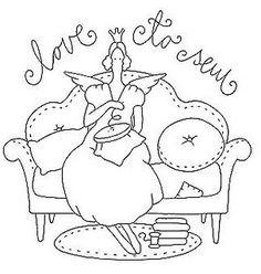 angel stitching, redwork embroidery pattern by AnaPrendaPrendada Hand Embroidery Patterns, Applique Patterns, Embroidery Applique, Cross Stitch Embroidery, Cross Stitch Patterns, Quilt Patterns, Machine Embroidery, Embroidery Designs, Sewing Crafts