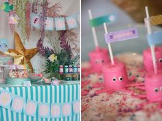 Octopus Marshmallow Pops & a pretty table with tangling seaweed decorations