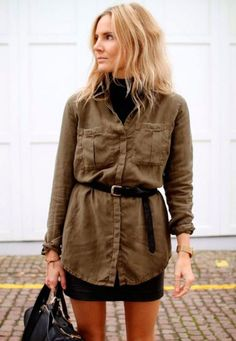Fashion Me Now City Safari: belted utility button-down shirt & skirt Khaki Shirt Dress, Shirt Skirt, Khaki Jacket, Plaid Outfits, Fall Outfits, Casual Outfits, Fall Dresses, Moda Safari, Fashion Me Now