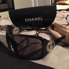 Chanel oversized sunglasses (black) Authentic chanel sunglasses.  Comes with chanel bag & case. There are no scratches on the lens or the frame. Like new...make me an offer. CHANEL Accessories Sunglasses