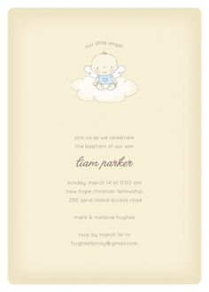 Baptism and christening invitations - Our Little Angel: Boy