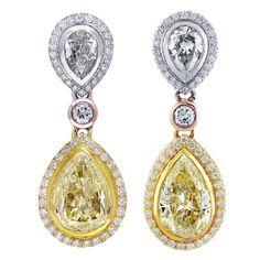 11 Carat Fancy Yellow Diamond Pear Shape Tri-Color Drop Earrings
