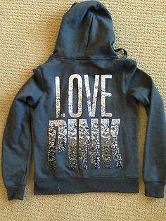 NWT Victorias Secret PINK brand funnel neck bling jacket Size M