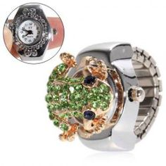 $3.84 Style Frog Design Stretchy Watchband Watch with Frog-shaped Cover (Silver)