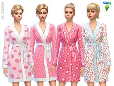 Clothing: Cute Pink Bathrobes Set by Lillka from The Sims Resource • Sims 4 Downloads
