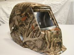 Welding helmet in camo print Hydrographics by Liquid Carbon Shop in Ontario Canada