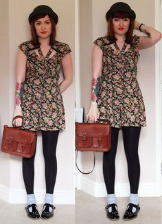 River Island Floral Playsuit, H&M Satchel, River Island Bowler Hat, H&M Ankle Socks, Topshop Mary Jane Flat Shoes