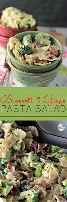 Broccoli and Grape Pasta Salad | by Renee's Kitchen Adventures - Easy recipe for a fresh broccoli and grape side dish perfect for your BBQ or summer party! (think of the grapes as raisins that haven't become raisins yet!) #pasta #salad