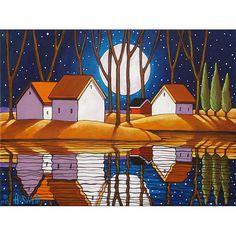 PAINTING ORIGINAL Acrylic on Canvas Folk Art by SoloWorkStudio, $195.00