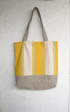 Sunny Stripes Tote Bag Beach bag Shopper by HelloVioleta on Etsy, $45.00