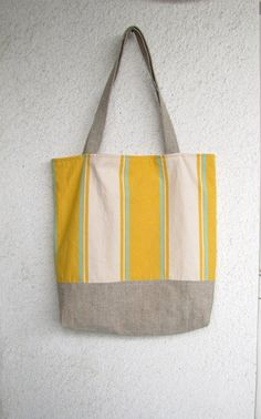 Beach Tote bag Shopper Market bag Yellow Sunny Stripes