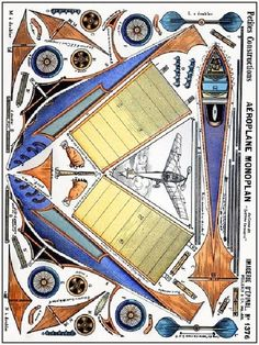 Monoplane Vintage Paper Model - by Imagerie D`Epinalvia Modellcom Old Paper, Paper Art, Paper Crafts, Papel Vintage, Vintage Paper, Cardboard Toys, Paper Toys, Kirigami, Papercraft Anime