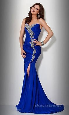 Blue Discount Designer Clothes Long Dresses Evening Dresses