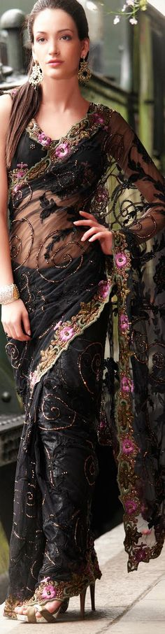 Black Net Latest Fashion Saree 16762 With Unstitched Blouse
