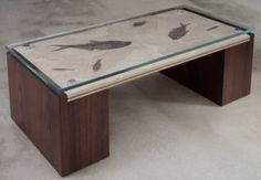 Custom Coffee Table with Green River Fossil Stone Top #JohnStraussFurniture