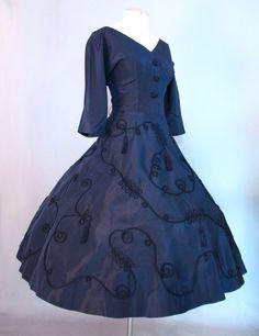 Vintage 50s Dress Full Skirt Navy Taffeta Tassels Medium M bust 39 $125 at Couture Allure Vintage Clothing