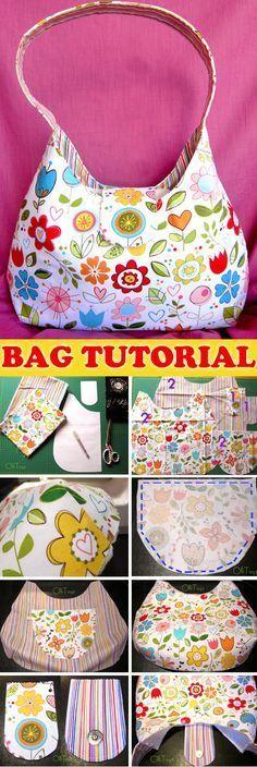 One Handle Bag Sew Tutorial & Pattern http://www.free-tutorial.net/2017/01/one-handle-bag-tutorial.html #handbagdiy