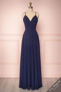 Kimari Minuit - This delightful dress will delicately decorate your silhouette thanks to its lace back and long flowy chiffon skirt. Navy Blue Prom Dresses, Pretty Prom Dresses, Homecoming Dresses, Beautiful Dresses, Bridesmaid Dresses, Long Navy Blue Dress, Gala Dresses, Dance Dresses, Evening Dresses