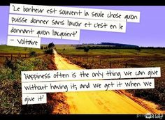 French quote of Voltaire about happiness