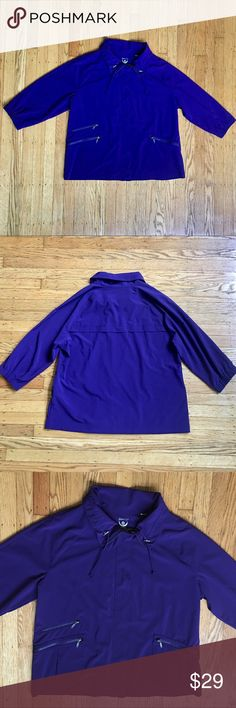 Zenergy Purple Zip Up Light Jacket Size 3 EUC Chicos Zenergy Purple Zip Up Lightweight Jacket  Size 3. Equal to standard Size 16 or XL. Please refer to size chart. I doubled checked the size chart measurements for Accuracy. EUC. Fabric Size Tag was Cut for Comfort but Size is Printed Inside Collar. Thank You! Chico's Jackets & Coats