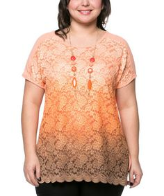 Look what I found on #zulily! Coral Lace Scoop Neck Top & Necklace - Plus by Essential Collection #zulilyfinds