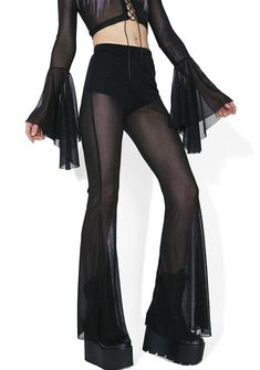 Club Exx Twilight Skies Mesh Pull-On Flares cuz you're our dancer in the dark, babe! These ultra cool pull-on pants feature a lascivious sheer black mesh construction with twinkle glitter throughout for a sparkling glow, high waisted cut, and floaty flared legs.