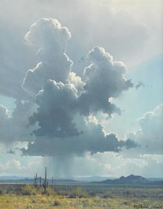Michael Stack painting of storm clouds over a desert landscape. Beautiful Sky, Beautiful Landscapes, Landscape Art, Landscape Paintings, Desert Landscape, Watercolor Clouds, Cloud Art, Sky Painting, Sky And Clouds