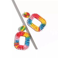 Zinnia Raffia Earrings – Lizzys Abode$8.95 Instock Zinnias, Rainbow, Earrings, Ear Rings, Rainbows, Rain Bow, Pierced Earrings