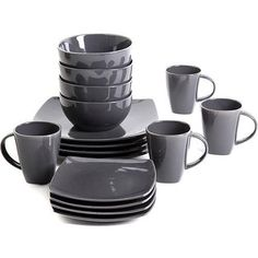 Gibson Home Soho Lounge Square 16-Piece Dinnerware Set - Walmart.com  sc 1 st  Pinterest & dark purple and black set // Soho Lounge Square 16-Piece Dinnerware ...