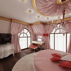 Розовая детская комната для девочки  http://www.line-mg.ru/portfolio/dizayn-doma-stil-art-deco/