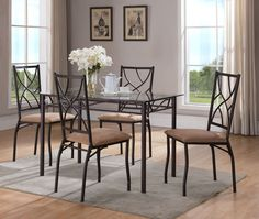 5 Piece Bronze Metal Rectangle Kitchen Dinette Dining Table & 4 Chairs Set