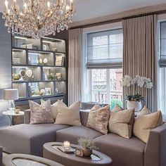 Elegant family room in our Knightsbridge project Living Room Decor Colors, Living Room Designs, Boho Home, Elegant Living Room, Décor Boho, Living Room Inspiration, Style Vintage, Home And Living, Living Rooms