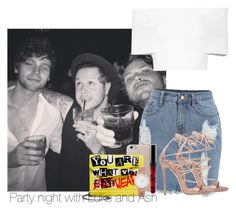 """""""Parte night with Luke and Ash"""" by missjenner96 ❤ liked on Polyvore featuring Rosetta Getty, Dsquared2, Jimmy Choo, Larsson & Jennings, 5sos, ash and lukeh"""