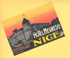1920s Hotel Negresco Nice France Vintage Mint Luggage Label | eBay