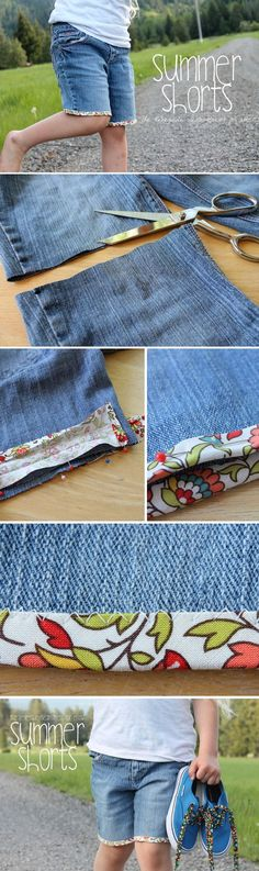 Transform an old pair of jeans into adorable summer shorts using bias tape. Instructions on the site. The post Transform an old pair of jeans into adorable summer shorts using bias tape. Inst appeared first on Jean. Diy Clothes Refashion, Diy Clothing, Sewing Clothes, Clothes Crafts, Sewing Hacks, Sewing Tutorials, Sewing Projects, Sewing Patterns, Sewing Tips