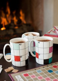 Nice mugs. Crossword design with Scrabble colors.