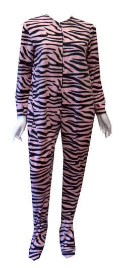 Pink Zebra Fleece Onesie Footie Pajama So cozy! These pajama sets for women are a pink striped zebra pattern. These one piece zipper-closure footies have gripper bottoms, a slight elastic at the back of the waist and slightly elasticized ankle backs. Machine wash. Junior cut.