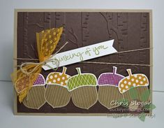 Acorny Thank You by Stampin' Up! Fall Cards, Winter Cards, Holiday Cards, Christmas Cards, Stampin Up Karten, Stampin Up Cards, Holidays With Kids, Single Holidays, Leaf Cards