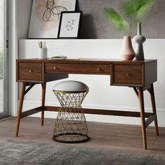 Favorites List | Wayfair Writing Desk With Drawers, Wood Writing Desk, Home Office Desks, Office Decor, Mid Century Modern Desk, Large Desk, Engineered Wood, Storage Spaces, Mid-century Modern
