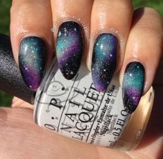 Galaxy nails are so ugly tbh. But they look good on stiletto nails. Get Nails, Love Nails, How To Do Nails, Fabulous Nails, Gorgeous Nails, Pretty Nails, Purple Nail Designs, Nail Art Designs, Galaxy Nail Art