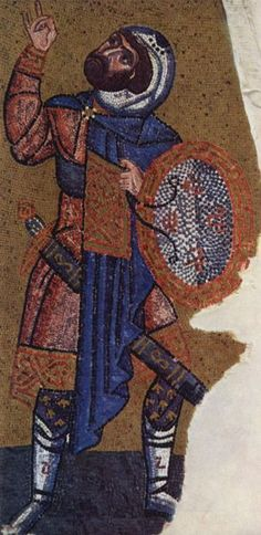 Byzantine Mosaic depicting the soldier, Longinus, in the Nea Moni Church, Chios, Greece, c.1049-55AD
