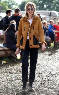 Edie Campbell Glastonbury 2016, Coach Shearling Jacket