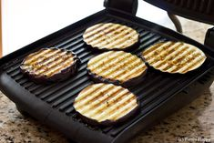 Grilled Eggplant on Panini maker for Eggplant Parmigiana Panini
