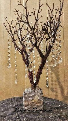 árbol central Natural con brillo. Deseando árbol, con cristales y florero de rhinestone Bling.