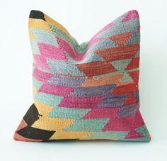 "Vintage Turkish Kilim Pillow Cushion 16"" X 16"" (40 cm x 40 cm) - Free Shipping"