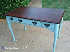 Old Desk - Using Annie Sloan Chalk Paint turns it into an adorable shabby-chic piece.