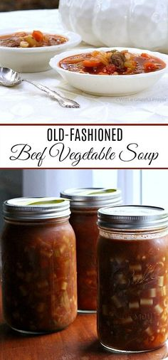 Easy and delicious recipe for old fashioned beef vegetable soup that freezes well. Lots of veggies, chunks of beef and tender pasta is perfect served with buttermilk biscuits. Canning Vegetable Soups, Canning Soup, Vegetable Soup Healthy, Vegetable Soup Recipes, Healthy Vegetables, Healthy Soup, Veggies, Beef Soup Recipes, Canning Recipes