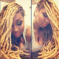 A waterfall of blonde locs