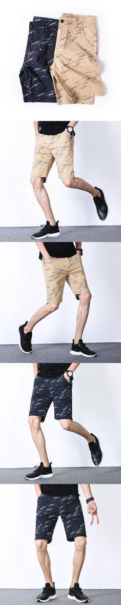 Rocksir Casual Mens Thin Shorts Fitness Male Shorts Retro Printed Loose Mid Length Summer Zipper Pocket Large Size  P660
