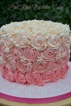 Pink Rose Ombre Buttercream Swirl Birthday Cake by Helen Costello Birthday Cake Roses, 25th Birthday Cakes, Birthday Cake For Mom, Buttercream Birthday Cake, Birthday Ideas, Pink Rose Cake, Pink Ombre Cake, Pink Roses, Rose Swirl Cake